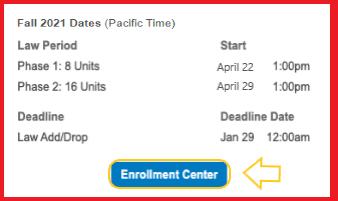 Enrollment Center Button with arrow